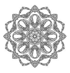 Round boho mandala with a tribal pattern doodle vector