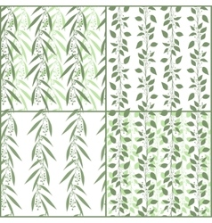 Set of seamless pattern branches of eucalyptus and vector