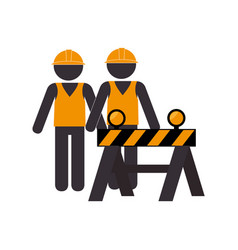 Silhouette road construction and workers group vector