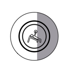 Sticker of monochrome pictogram of man with vector