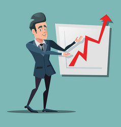Successful businessman pointing on growth chart vector