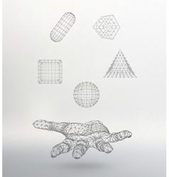 Triangle pyramid ball cube capsule on the arm vector