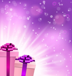 Two gift boxes in lilac color with light on violet vector image