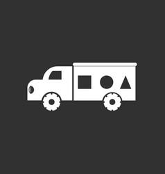 White icon on black background kids truck vector