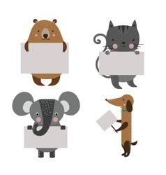Wild animal zoo banner cartoon set vector image