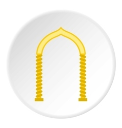 Yellow arch icon flat style vector