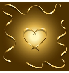 Gold silk heart with frame ribbons shiny vector