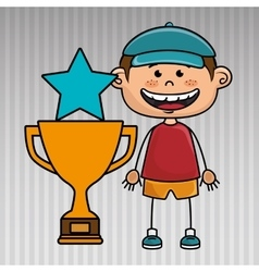 Boy trophy star icon vector