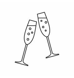 Sparkling champagne glasses icon outline style vector