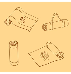 Set of yoga mat doodles vector