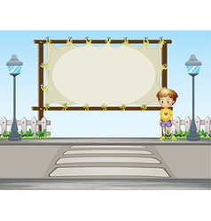 A boy near a blank ad space vector