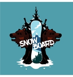 Snowboard and bears extreme sport vector