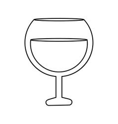 Glass brandy beverage alcohol outline vector