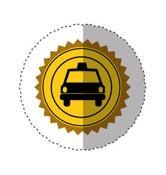 sticker color of circular seal with taxi car vector image