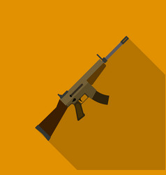 Military assault rifle icon in flat style isolated vector