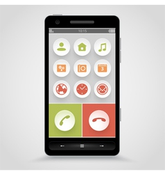 Smart phone with flat icons vector