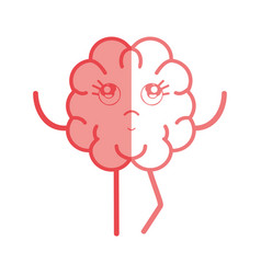 Icon adorable kawaii brain expression vector