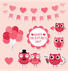 valentine cartoon owls vector image