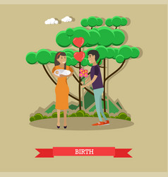 Happy family with newborn vector