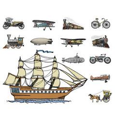 Submarine boat and car motorbike horse-drawn vector