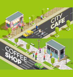 Urban cafe isometric banners vector