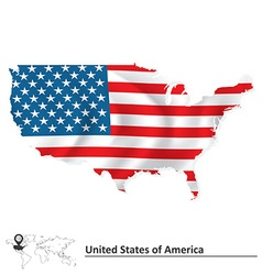Map of united states of america with flag vector