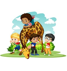 Children playing with giraffe vector