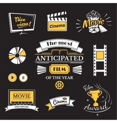 Movie signs set cinema logos and film labels vector image