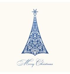Christmas tree Blue vintage vector image