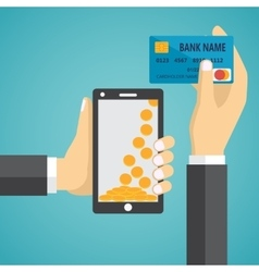 Man hands holding mobile phone and credit card vector
