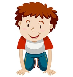 Little boy with curly hair kneeling down vector