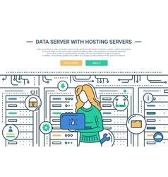 Data server and hosting - line design website vector