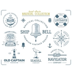 Vintage nautical stamps set old ship retro style vector