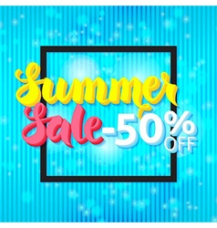 Summer sale 50 off lettering over blue abstract vector