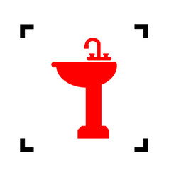 Bathroom sink sign red icon inside black vector