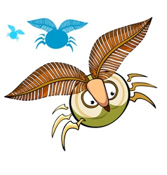 Cartoon insect with fluffy eyebrows vector