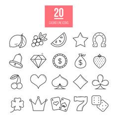 Casino line icons set slot-machine symbols vector
