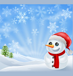 christmas snowman in snowy scene vector image vector image