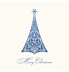 Christmas tree Blue vintage vector image vector image