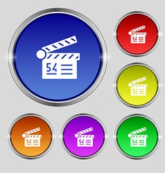 Cinema movie icon sign Round symbol on bright vector image