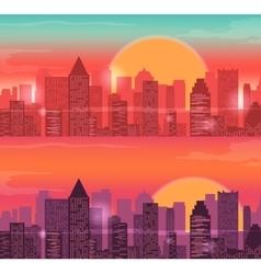 City Skylines urban landscape Sunrise and sunset vector image