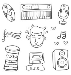 Collection stock musical element doodles vector