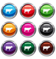 cow set 9 collection vector image vector image