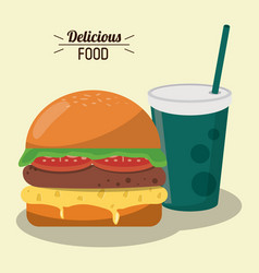 Delicious food burger tomato lettuce cheese and vector