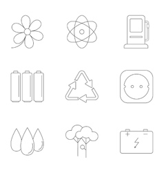 Energy icons set outline style vector