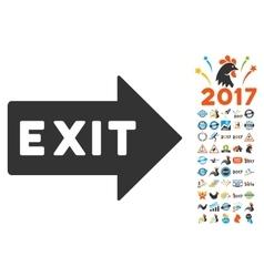 Exit arrow icon with 2017 year bonus pictograms vector