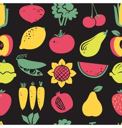 fruits and vegetables seamless pattern vector image vector image
