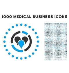 Geo Diagram Icon with 1000 Medical Business vector image vector image