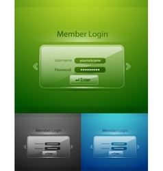 glass login page vector image vector image