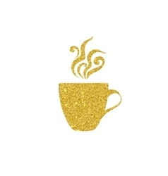 golden coffee cup vector image vector image